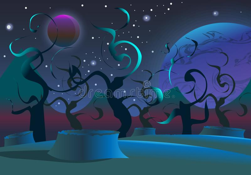 Vector realistic and futuristic space background royalty free illustration
