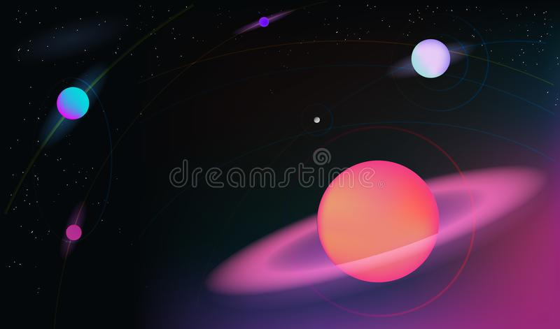 Vector realistic and futuristic space background with bright light planets and stars. Cosmos banner with neon light 3d objects and glowing tracks. Abstract vector illustration