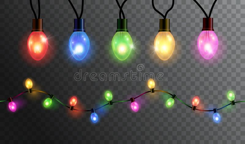 Vector realistic glowing colorful christmas lights in seamless pattern and individual hanging light bulbs isolated on dark. Background royalty free illustration