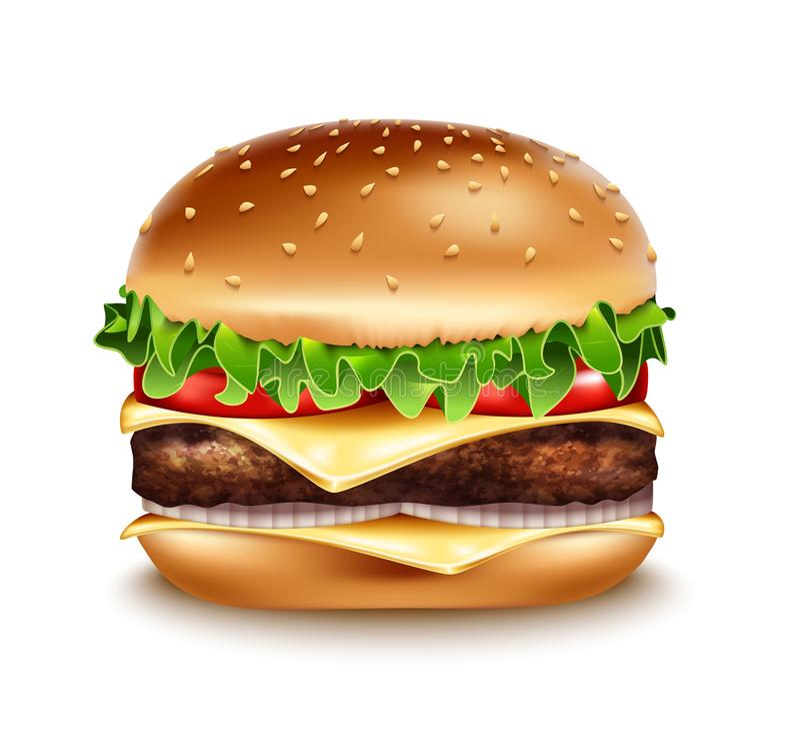 Vector Realistic Hamburger icon. Classic Burger American Cheeseburger vector illustration