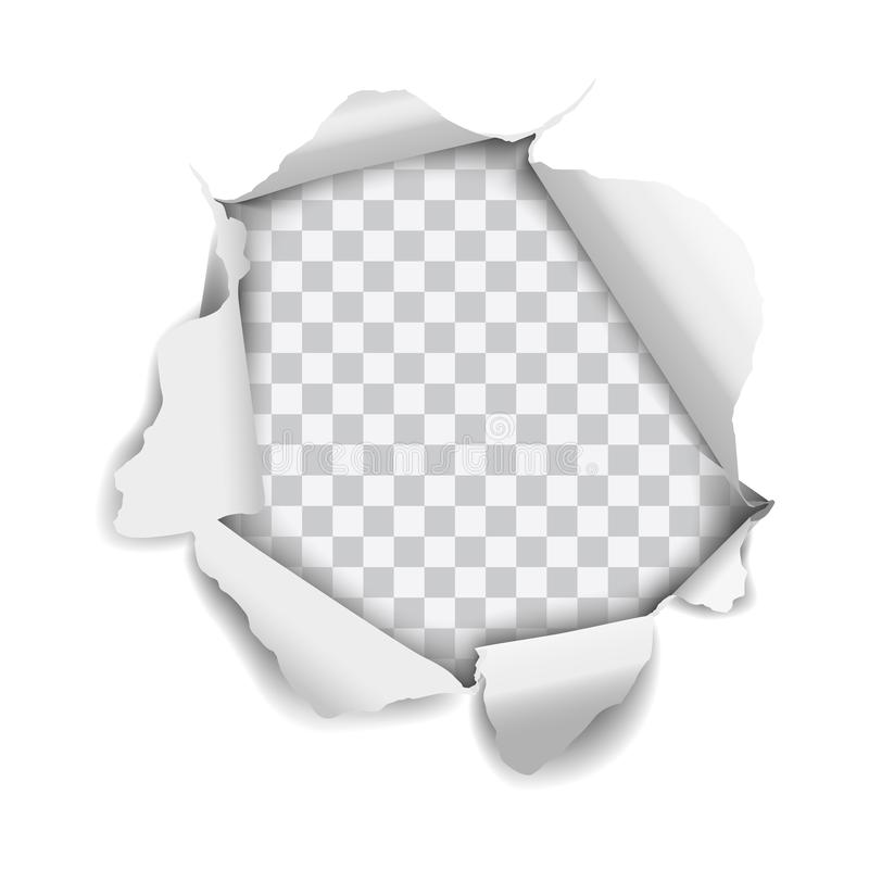 Vector realistic hole torn in paper isolated on white background.  vector illustration