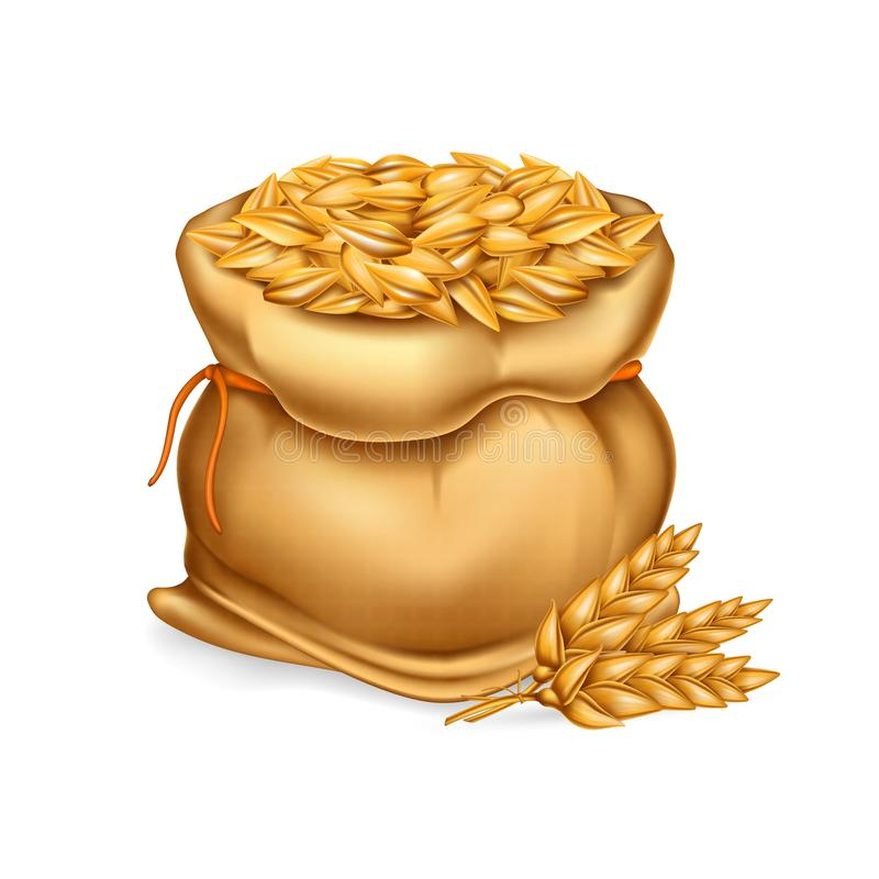 Vector realistic illustration of a bag with wheat, barley and sprigs of ears. vector illustration