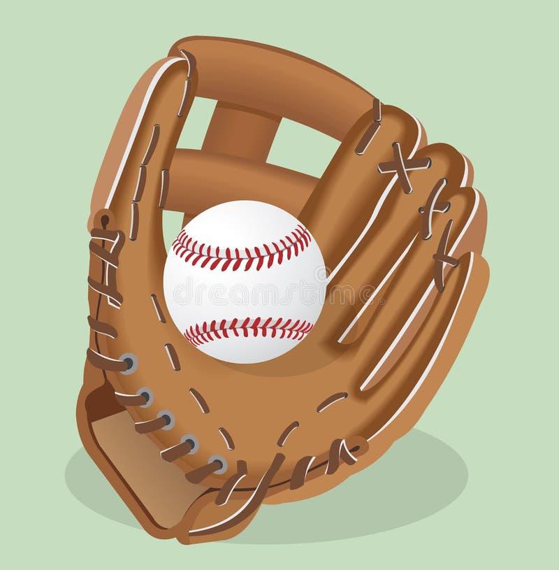 Vector realistic illustration. Baseball glove and ball. Sport equipment royalty free illustration
