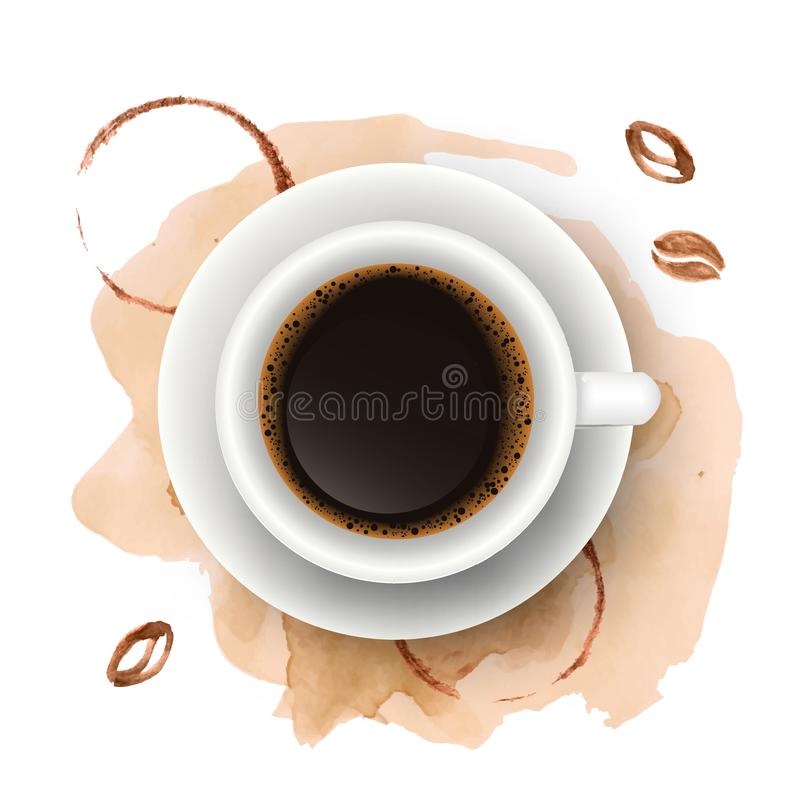 Vector realistic illustration of coffee cup with watercolor coffee beans, blots and splashes. Top view of realistic beverage vector illustration