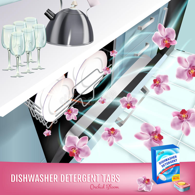 Orchid fragrance dishwasher detergent tabs ads. Vector realistic Illustration with dishwasher in kitchen counter and detergent pac stock illustration