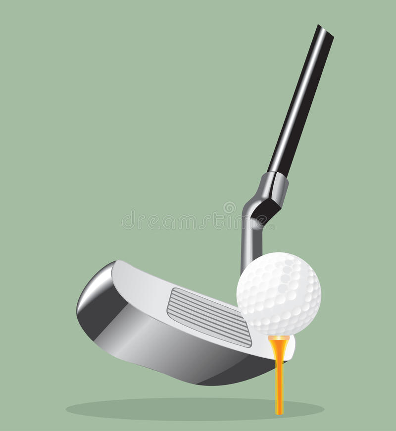 Vector realistic illustration. Golf club and ball. putter. stock illustration