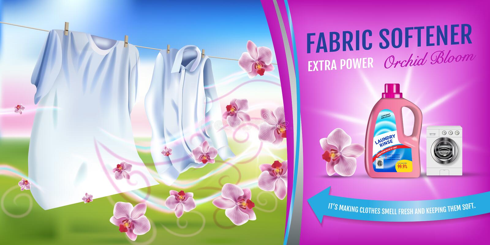 Orchid fragrance fabric softener gel ads. Vector realistic Illustration with laundry clothes and softener rinse container. Horizon stock illustration