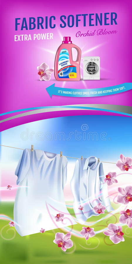 Orchid fragrance fabric softener gel ads. Vector realistic Illustration with laundry clothes and softener rinse container. Vertica stock illustration