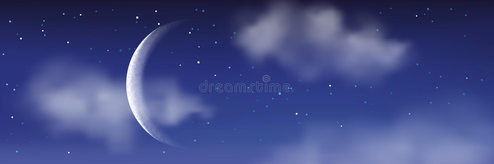 Vector realistic illustration of night cloudscape. Moon, stars, clouds on blue sky. Romantic landscape background stock illustration