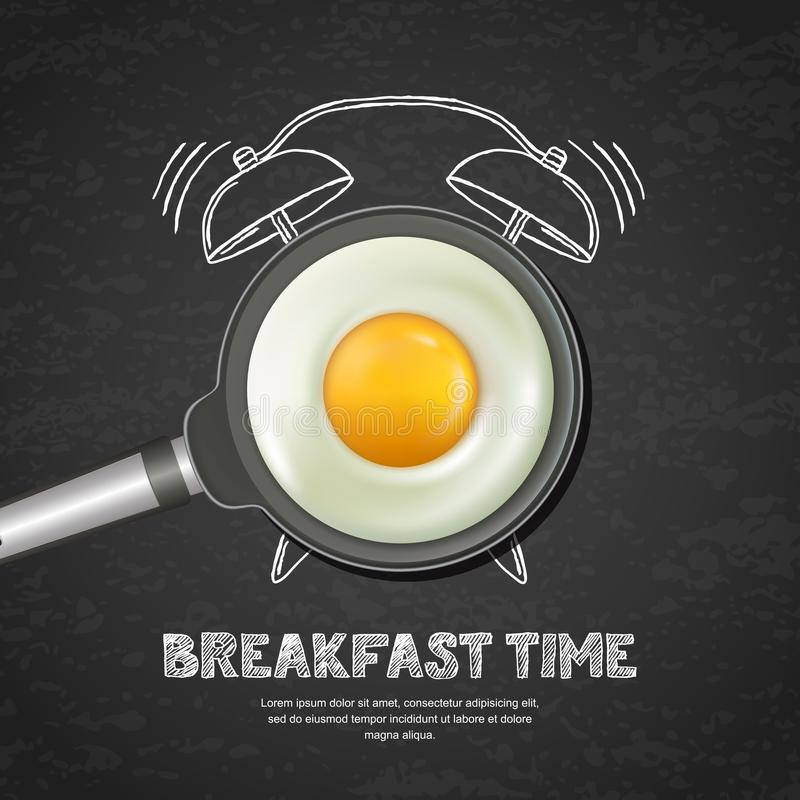 Vector realistic illustration of pan with fried egg and hand drawn alarm clock on black board slate background. stock illustration