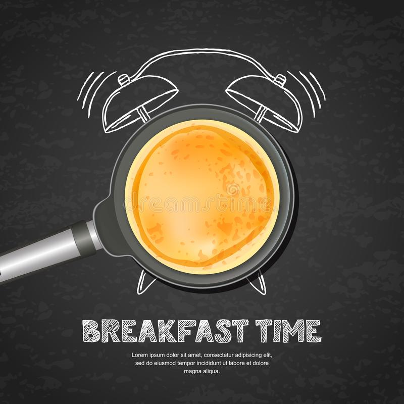 Vector realistic illustration of pan with pancake and hand drawn alarm clock on black board slate background. Top view food on dark background. Creative design vector illustration