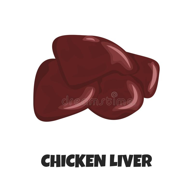 Vector Realistic Illustration of Raw Chicken Liver stock illustration