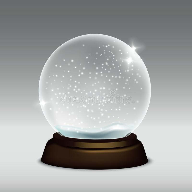 Vector realistic illustration of snow globe isolated on grey background vector illustration