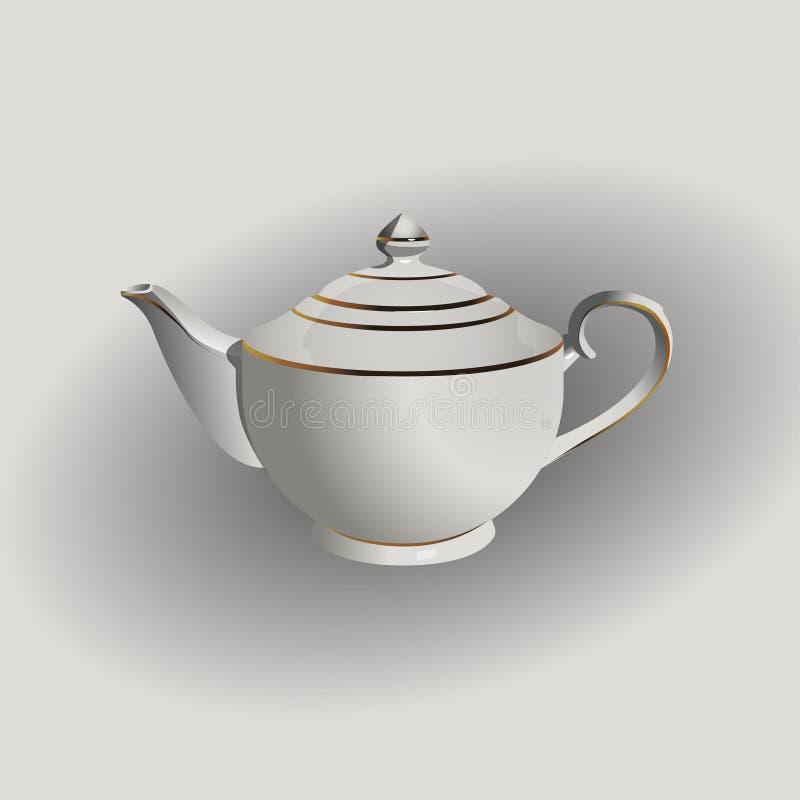 Vector realistic illustration of vintage porcelain pot. royalty free illustration