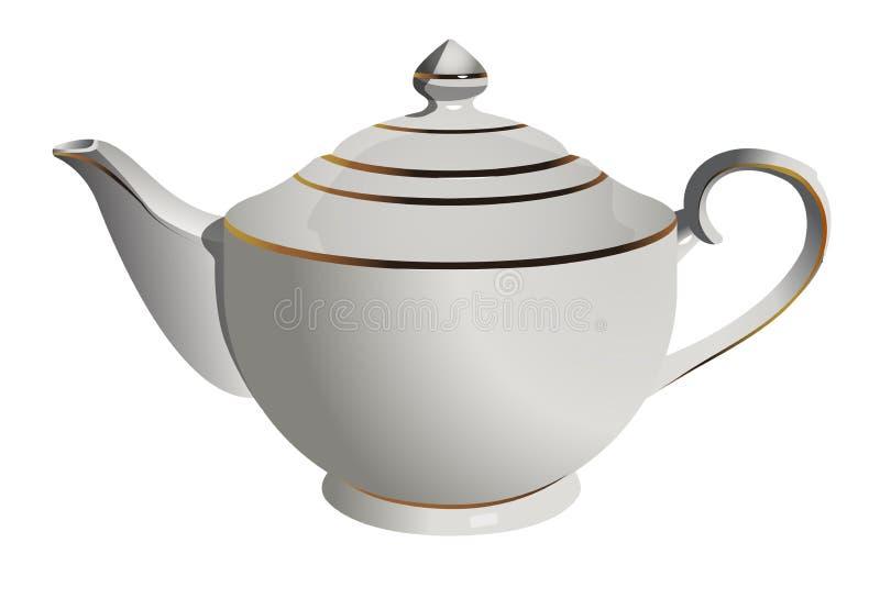 Vector realistic illustration of vintage porcelain pot isolated on white background stock illustration