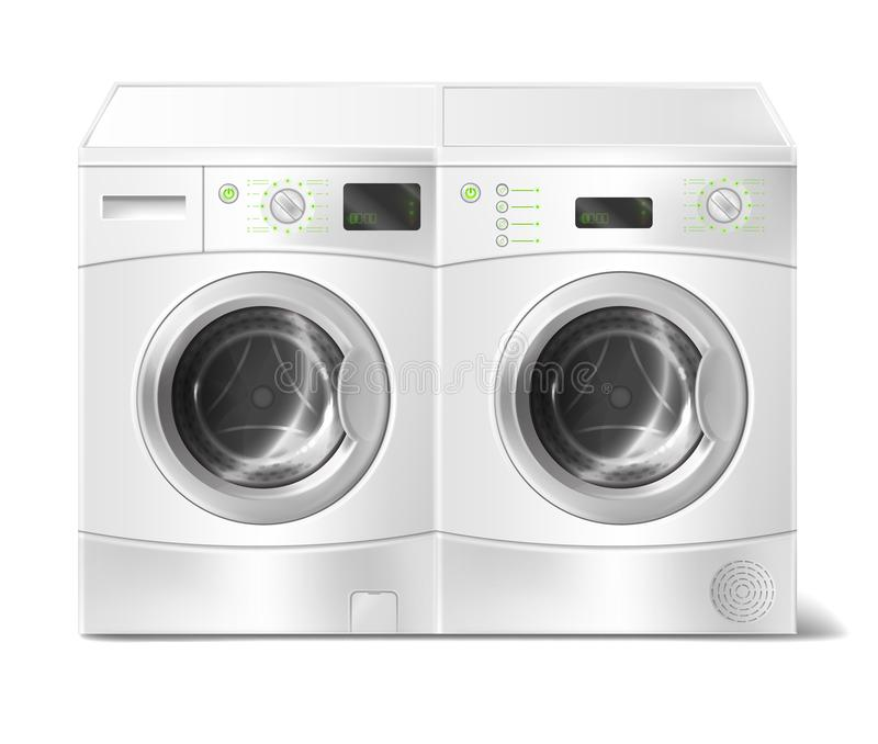 Vector realistic front-load washer and dryer. Vector realistic illustration of white front-load washer and dryer, empty inside, with close door isolated on stock illustration