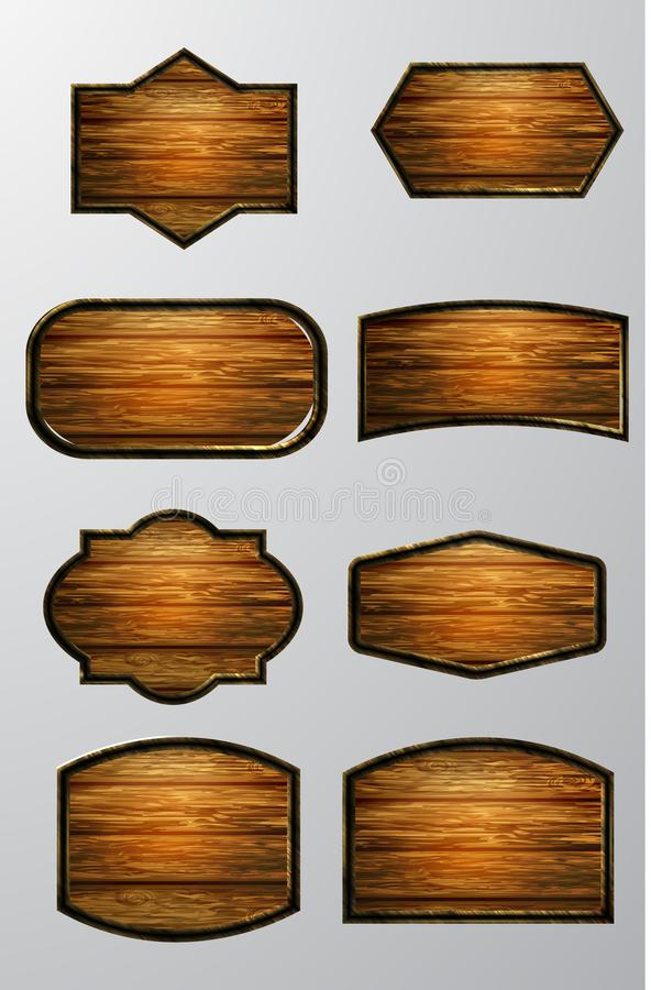 Vector realistic illustration of wooden signboard. Set isolated on white royalty free illustration