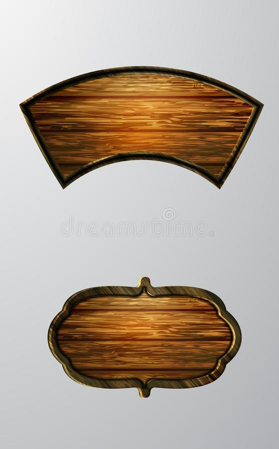 Vector realistic illustration of wooden signboard. Set isolated on white stock illustration