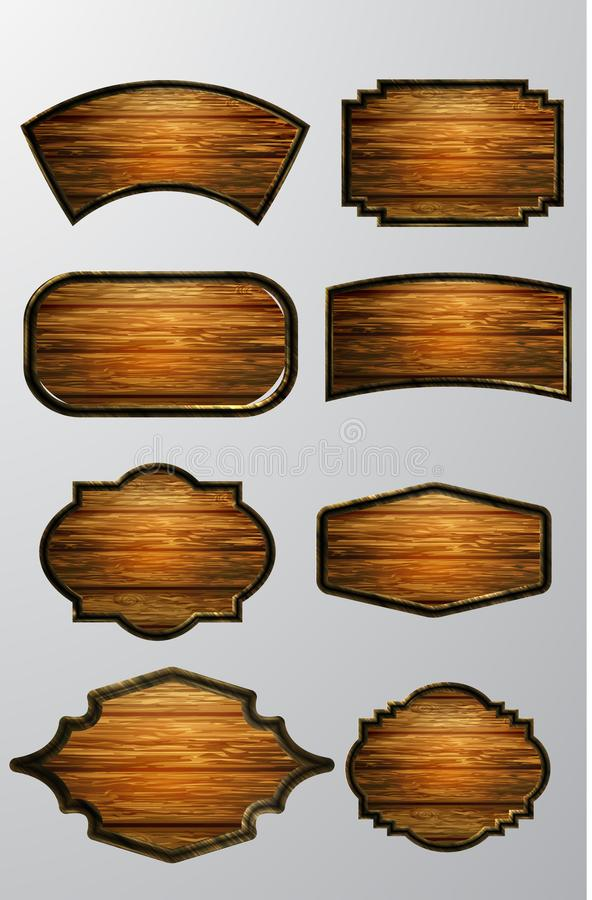 Vector realistic illustration of wooden signboard. Set isolated on white vector illustration