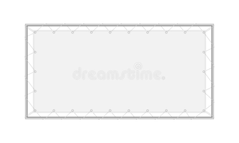 Vector realistic image layout, mock-up of a blank fabric rectangular banner. royalty free stock images