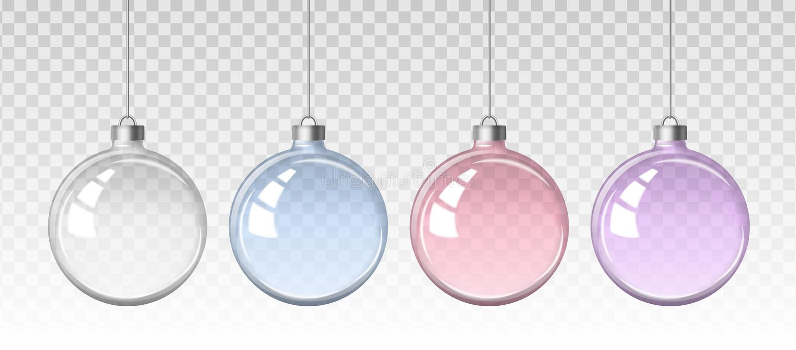 Vector realistic set of images of a glass transparent Christmas balls stock illustration