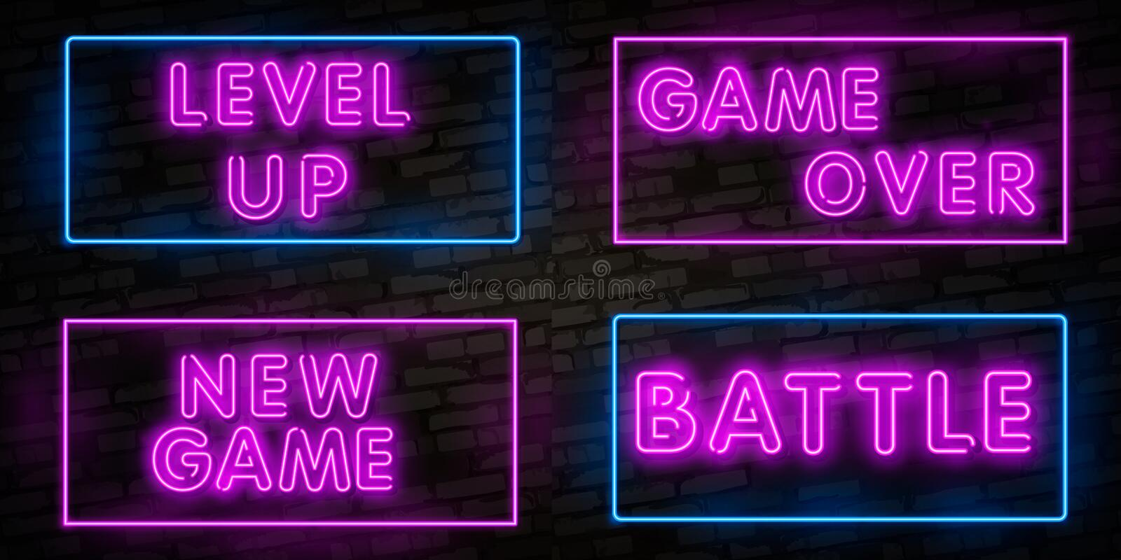 Realistic isolated neon sign of New Game, Level Up and Game Over, Battle logo for template decoration and covering on the wall vector illustration