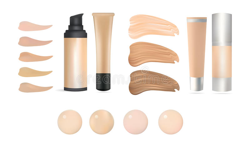 Vector Realistic Make Up Foundation Bottles and Containers with Color Shades Palette. Illustration Of Beauty Product Package, Temp. Late. Isolated On White vector illustration