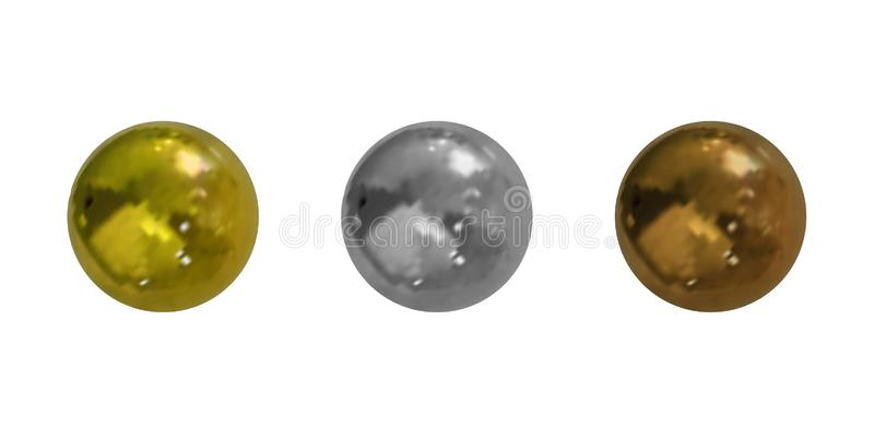 Vector Realistic Metallic Balls Collection, Isolated: Golden, Silver and Bronze Elements. stock illustration
