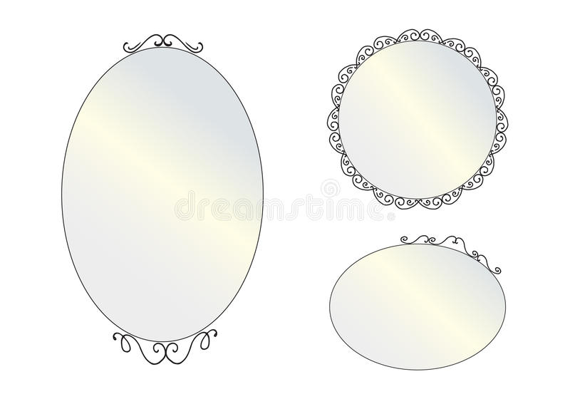 Vector realistic mirrors set. Mirror frames or mirror decor int. Set of decorative vintage mirror. Isolated mirrors set on white background. Flat style vector stock illustration