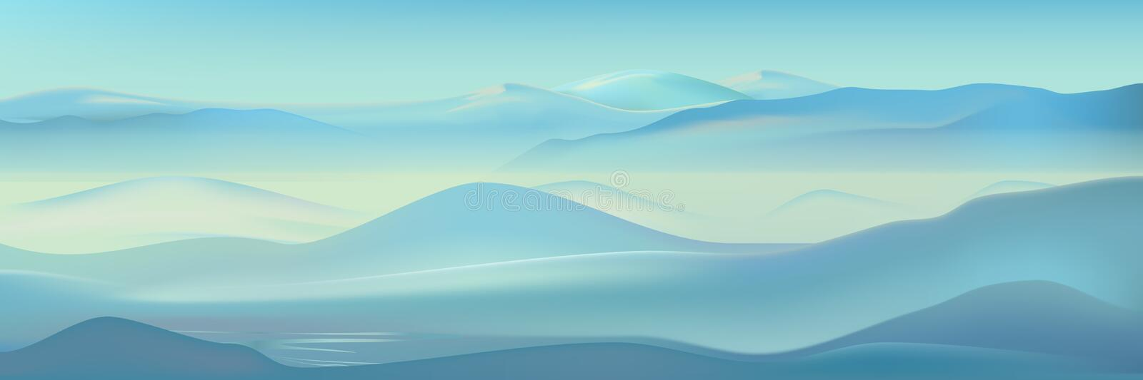 Vector realistic misty mountains landscape. Blue nature background. Beautiful winter mountains silhouette vector illustration