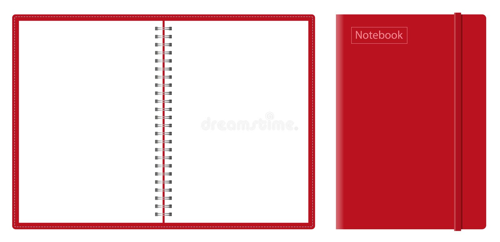 Vector realistic mock-up notepad. spiral for notebooks. Closed and open notebook with blank sheets. silver spirals notebook, top view vector illustration