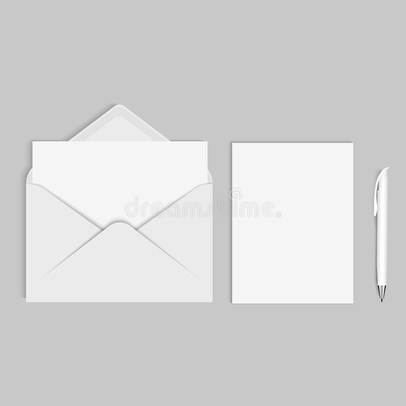 Vector realistic mockup for letter and pen or invitation card stock download vector realistic mockup for letter and pen or invitation card stock illustration illustration stopboris Choice Image
