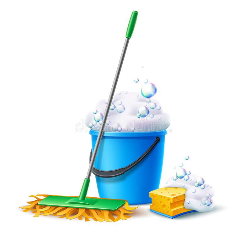 Free Vector Realistic Mop Sponge Bucket With Soapy Foam Royalty Free Stock Photo - 153722725