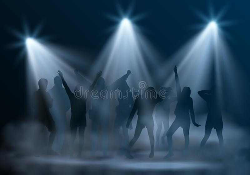 Vector realistic music club scene with spotlights, smoke and silhouettes of dancing young people stock illustration
