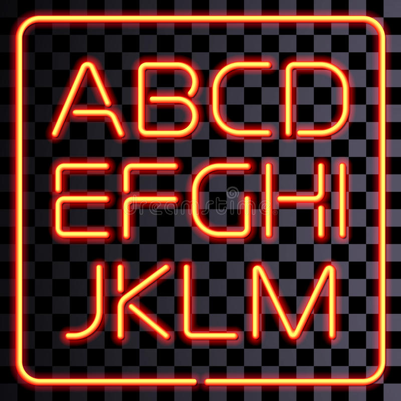 Vector realistic neon letters set vector illustration