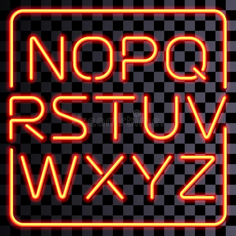 Vector realistic neon letters set stock illustration