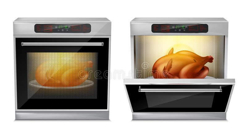 Vector realistic oven with turkey on plate inside royalty free illustration