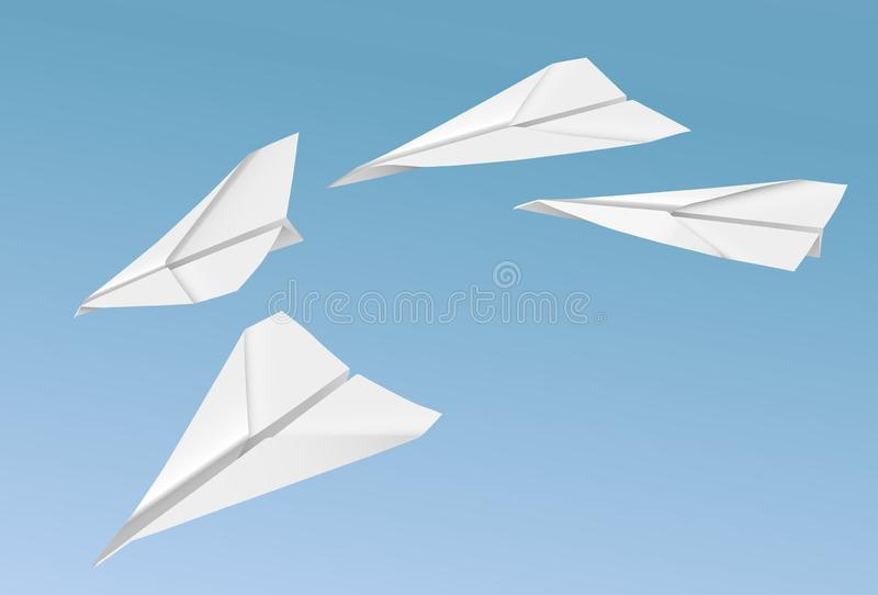 Vector realistic paper planes flying on the blue sky background stock illustration