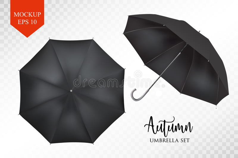 Vector realistic parasol, rain umbrella sunshade set. round mock up. Vector realistic parasol rain umbrella, Sunshade set. black colored, isolated .Blank Classic stock illustration