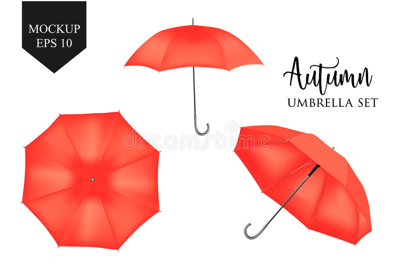 Vector realistic parasol, rain umbrella sunshade set. round mock up. Vector realistic parasol rain umbrella, Sunshade set. red colored, isolated .Blank Classic vector illustration