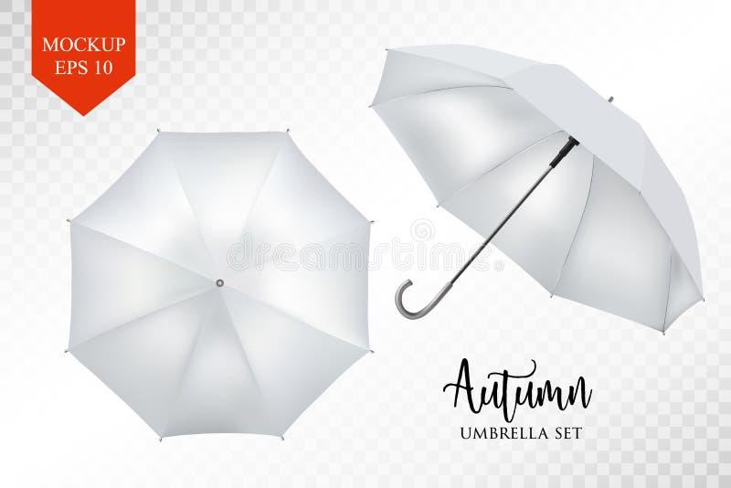 Vector realistic parasol, rain umbrella sunshade set. round mock up. Vector realistic parasol rain umbrella, Sunshade set. white colored, isolated .Blank Classic vector illustration