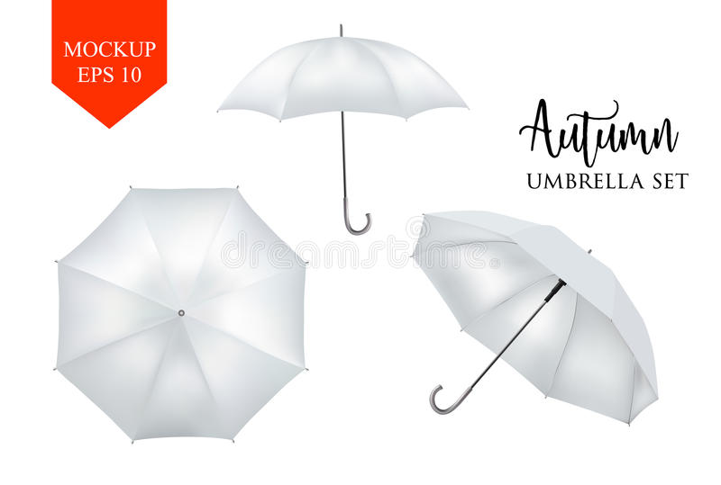 Vector realistic parasol, rain umbrella sunshade set. round mock up. Vector realistic parasol rain umbrella, Sunshade set. white colored, isolated .Blank Classic royalty free illustration