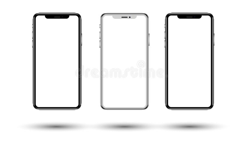 Vector Realistic perspective smartphone mockups set isolated. Vector illustration for printing and web element, Game and royalty free illustration