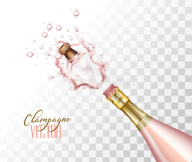 Vector realistic pink champagne explosion closeup stock illustration