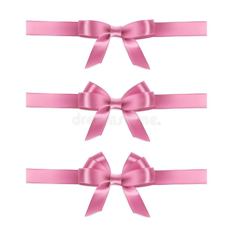 Vector realistic pink ribbons and bows. royalty free illustration