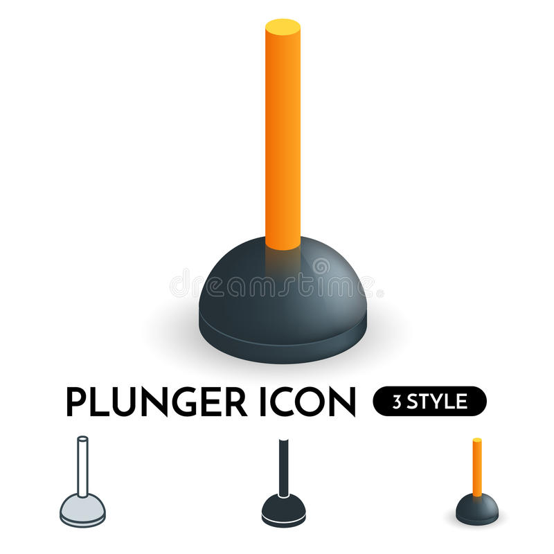 Vector realistic plunger icon in 3 styles. vector illustration