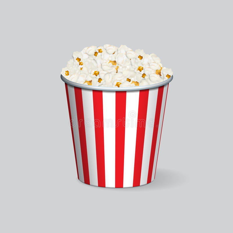 Vector realistic popcorn bucket isolated on grey background. stock illustration
