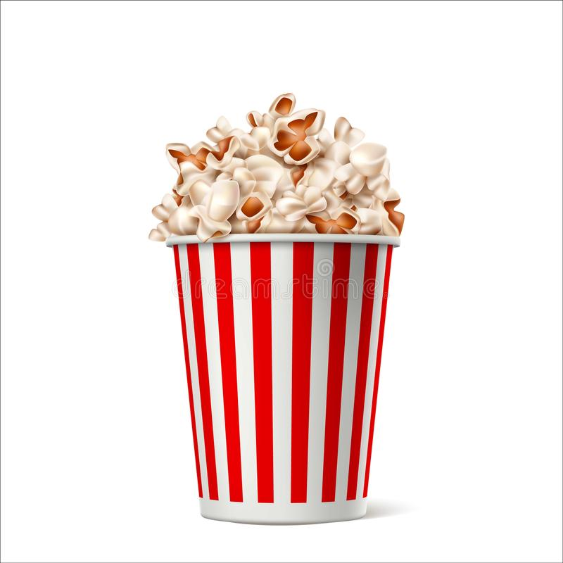 Vector realistic popcorn in striped bucket box vector illustration