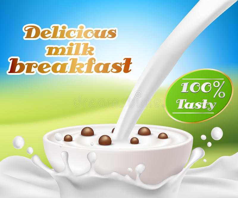 Vector realistic poster with a milk splash and milk pouring into a cup with a cereal breakfast, chocolate cereal balls royalty free illustration