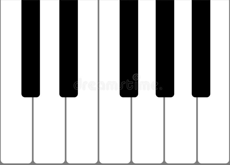 Vector proportionate illustration of one octave 12 notes piano keyboard stock illustration